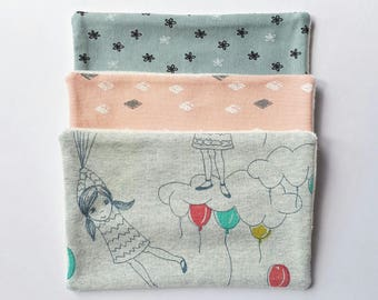 Set of 3 wipes/Washcloths in organic cotton and bamboo