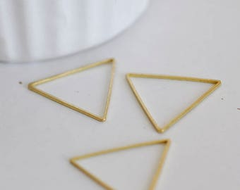Set of 50 Charms raw brass triangles