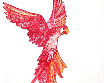 Colorful Parrot drawing Red parrot illustration Tropical bird art Tropical Parrot Artwork Bird Wall decor Colorful bird decor Red bird
