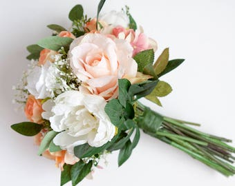 Peach Bouquet, Peach White Bouquet, Blush Bouquet, Pink Bouquet, Pink Peach Bouquet, Wedding Bouquet, Silk Flower Bouquet, Bridal Bouquet