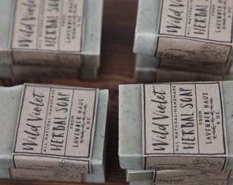 Wild Violet Soap- herbal soap, all natural, handmade, cold process, vegan, wildcrafted