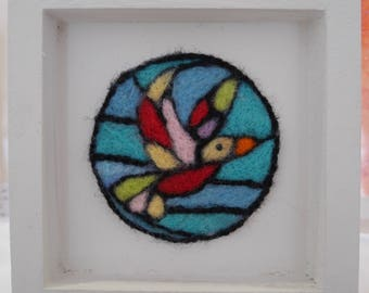 Needle felted framed bird picture