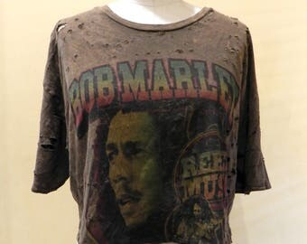 Bob Marley distressed cropped T-shirt by Cedella Marley