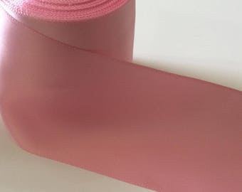 Pink 10 cm wide double face satin ribbon