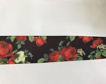 Ribbon 3 d 3D 22 mm width color grosgrain black and Red