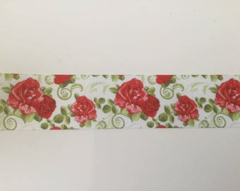 Ribbon 3 d flower 3D 38 mm wide red and green grosgrain Ribbon