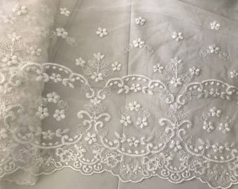 White lace embroidered tulle