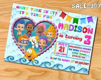 Bubble Guppies invitation, Bubble Guppies birthday party, Bubble Guppies birthday invitation, bubble guppies invite, Bubble Gupies