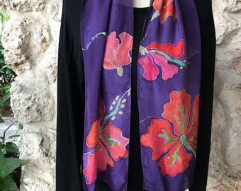 Handpainted silk scarf with beautiful hibiscus flowers