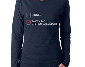 Single or Taken by Stefan Salvatore TVD Women Long Sleeves tee T-shirt
