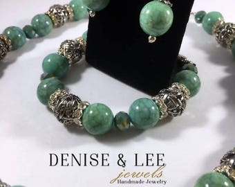ON SALE Turquoise & Silver Beaded Jewelry Set
