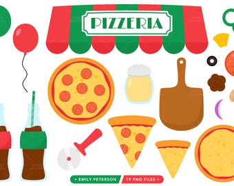 Pizza Party Clip Art, Pizza Clipart, Pizzeria Graphics, Pizza Slice Clipart - Commercial Use, Instant Download