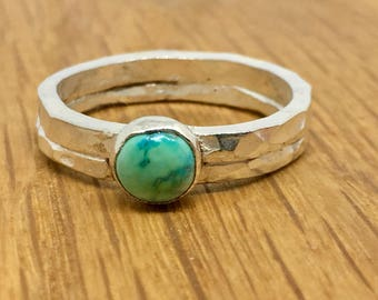 Beautiful Turquoise on a double hammered silver ring, Unusual Turquoise ring, Handmade turquoise ring, Silver Turquoise ring, Size Q