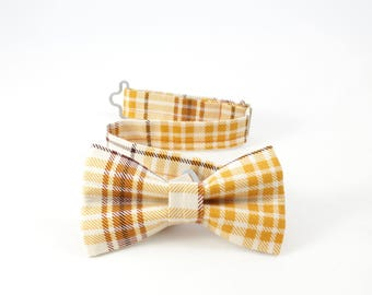Autumn plaid bow tie with brown, orange, and caramel tones, Fall bow tie, Thanksgiving bowtie, Harvest cotton toddler boy plaid ivory bowtie
