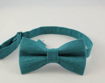 Teal Linen bow tie,Vintage, Linen bowtie for boys,adjustable pretied kids bowtie, adjustable sky bowtie; deep wave bowtie;baby boy bowtie