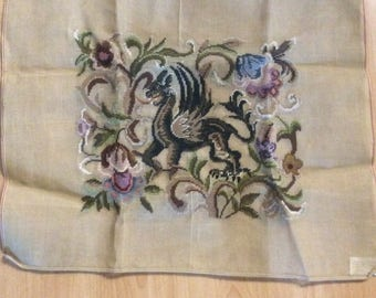 Large Preworked Needlepoint Canvas Medieval Dragon With Stylized Florals Jacobean Design