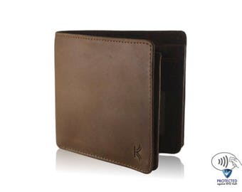 SALE Father's Day Gift Handmade Wallet Men's Leather Wallet Coin Pocket Bifold Wallet Mens Rugged Wallet Distressed Wallet