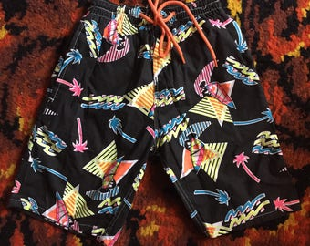 Vintage Kids 1980s Neon Jazzy Tropical Novelty Surf Beach Cotton Shorts 4-5y