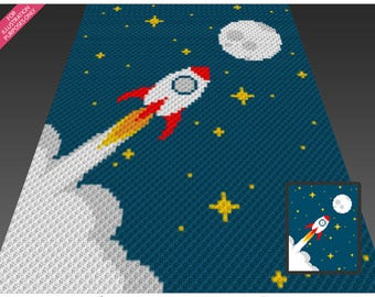 To The Stars crochet blanket pattern; c2c, cross stitch; graph; pdf download; no written counts or row-by-row instructions