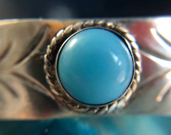 Vintage Silver Turquoise Cuff Made in Mexico