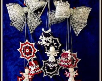 CHRISTMAS DECORATIONS , Hand crochet, hang up, Free shipping