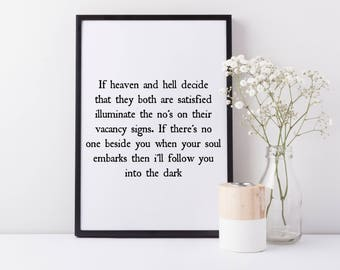 Framed Death Cab For Cutie Wall Art Print |I Will Follow You Into The Dark | Death Cab For Cutie Lyrics | Wall Decor | FREE UK SHIPPING |