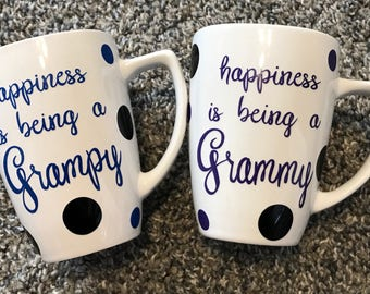 Happiness is being a grammy/grampy. Personalized coffee mugs.