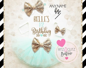 1/2 Birthday Tutu Set Baby Girl   Half Birthday Outfit   Baby Girl Half Birthday Tutu Set   Baby Girl Birthday Shirt   Girl 1/2 Birthday