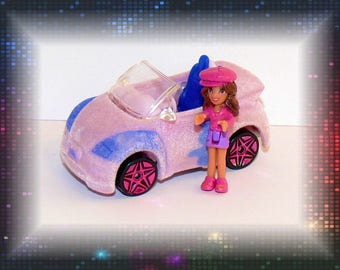 Polly Pocket Fur Wheels Mini Car w/Figure Flocked Fuzzy Hard to Find