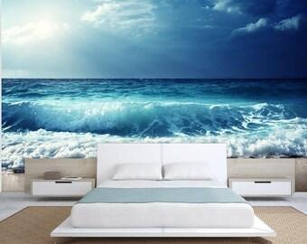 wave wall mural, sea wall mural, underwater wall mural, self-adhesive vinly, water wall mural, sea waves horizon, horizon sea wallpaper