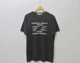 KATHERINE HAMNETT LONDON English Fashion Designer Spell Out Tee T Shirt Size L