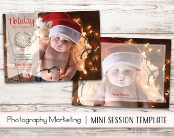 Christmas Mini Session Template - Holiday Mini Session Template - Photography Marketing - Photoshop Template [INSTANT DOWNLOAD]