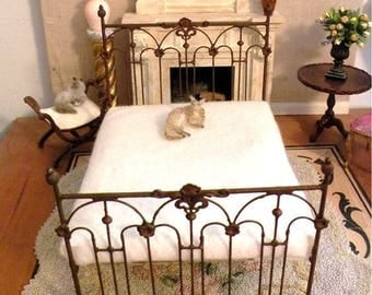 "Artisan Made Dollhouse Miniature Wrought Iron Look Bed ""TESSA"" 1:12 Scale Twin and Full, Half Scale"
