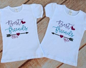 Best friend Shirt, Best Friend Shirt Set, Best friend Bodysuit, Sister Shirt, Glitter Best Friends Shirt, Sister Shirt Set, Personalized