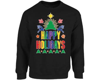 Happy Holigays Ugly Christmas Sweater Funny Queer Deer Sweatshirt for Christmas Funny Christmas Holigays Sweater Party for Men and Women