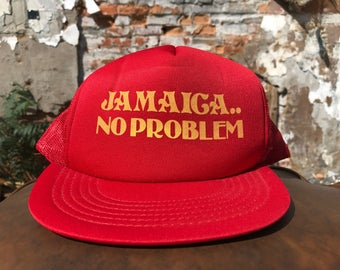 "Vintage Jamaica ""No problem"" snapback trucker hat 80's Red and yellow"