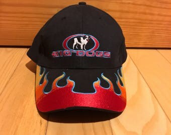 Vintage Big Dogs adjustable hat flames blue and red 90's RARE Great condition All over print dad hat Fire hat