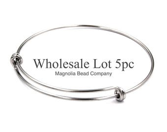 Stainless Steel Adjustable Bangle,65mm Adjustable Wire Bangle, Stainless Steel,Wholesale Lot Of 5pcs