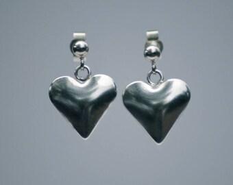 Handmade Sterling Silver Heart Earring London Hallmarked