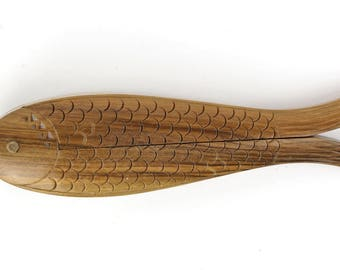 "Vintage Nutcracker ""The fish"" intricately carved ore mountains-Antique nutcracker from Germany"