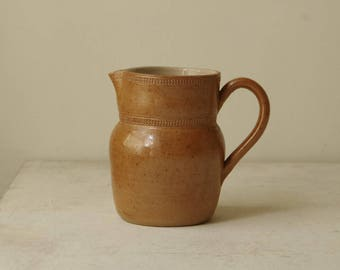 French Vintage Sandstone Pitcher Decanter. Stoneware jug. Wine water carafe pitcher. Studio pottery. French country Retro water pottery pot.