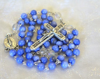 Periwinkle Blue Bead Rosary