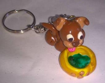 Dog Keychain drinking