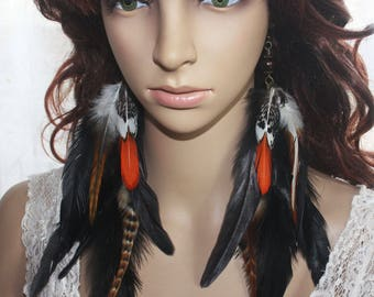 Full Thick Natural Feather Earrings Festival Burner Concert Party Tribal Hippy