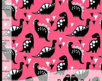 Paapii Organic Cotton Jersey knit Dino's in Hot Pink