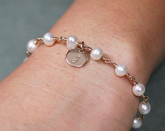White Pearl Bracelet with Gold Disk Charm and Initial Letter