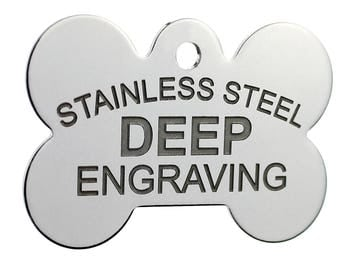 Stainless Steel Custom DEEP Engraved Pet ID Tags Personalized Front and Back Dog Tags for Dogs and Cats