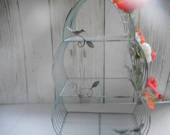 3 tiered aqgua Cupcake Stand, Large shabby chic cake stand, Spring Cupcake Stand, Birthday Party, Jelly Stand, Flowers Stand.