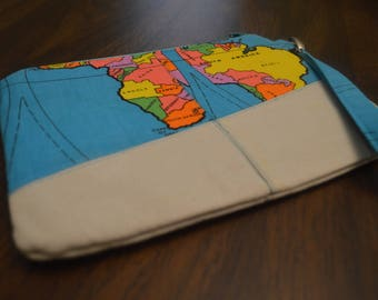 World Traveler Vintage Map Fabric Clutch Wristlet