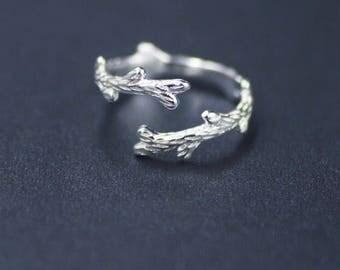 Silver leaf adjustable ring